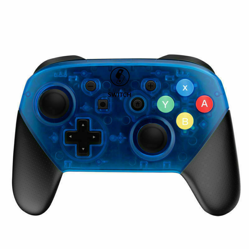 Nintendo Switch Pro Controller Black and Transparent Blue Faceplate