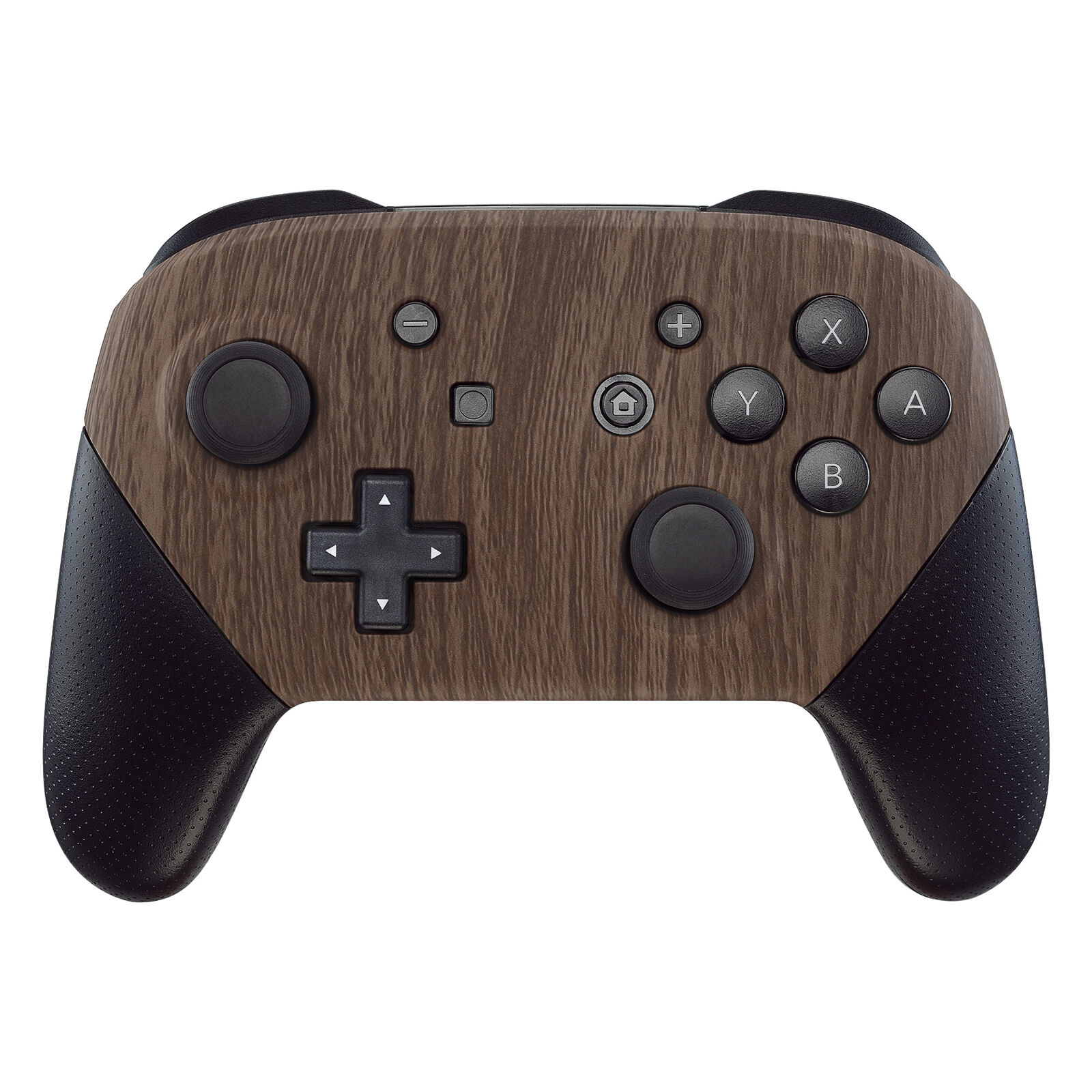 Nintendo Switch Pro Controller Black and Wood Grain Faceplate