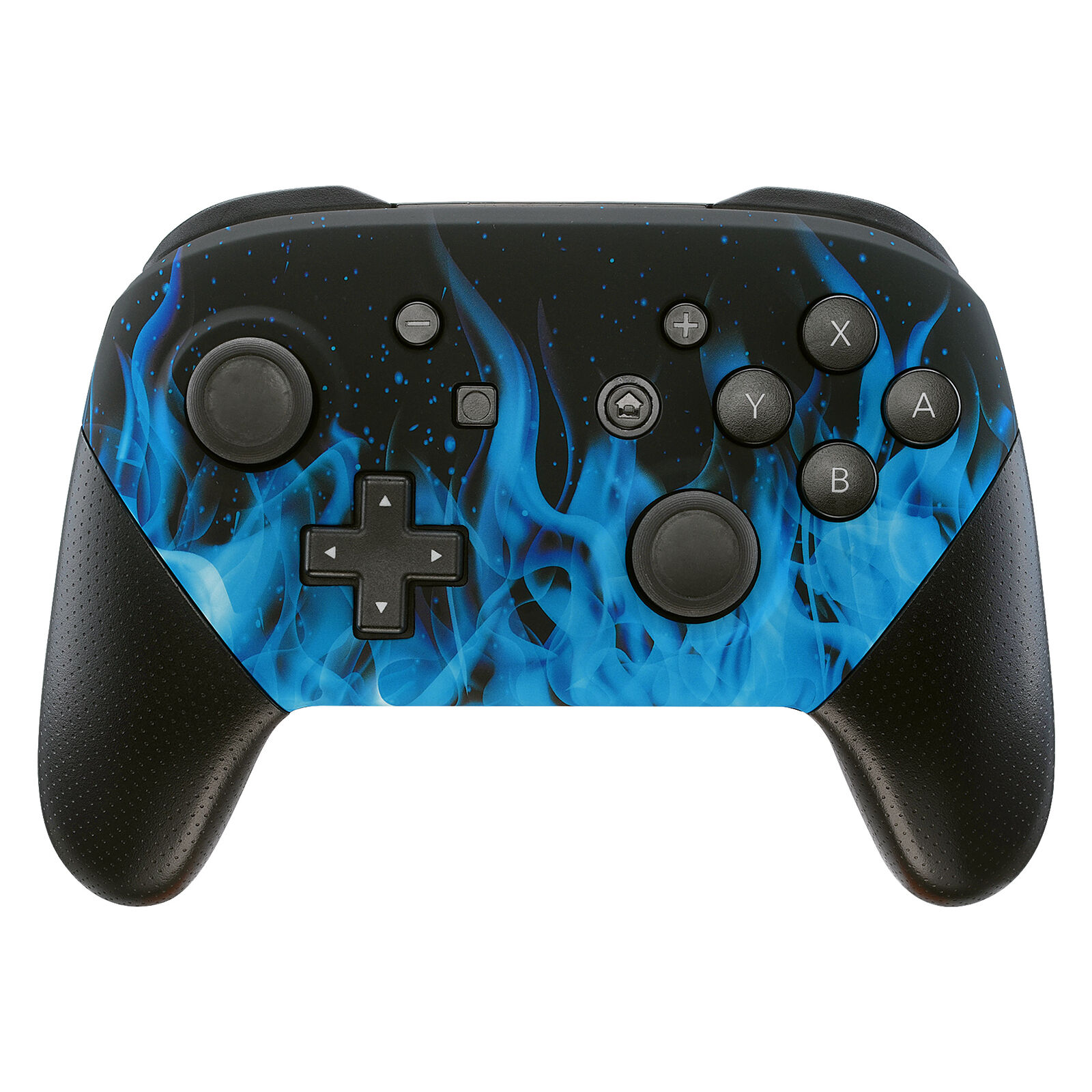 Nintendo Switch Pro Controller Black and Blue Flames Faceplate