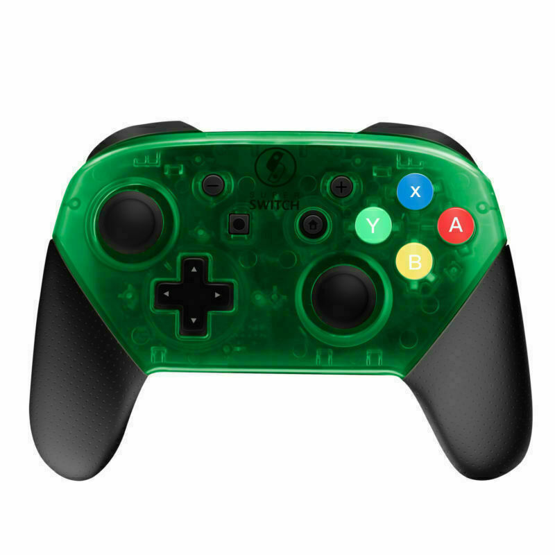 Nintendo Switch Pro Controller Black and Transparent Green Faceplate