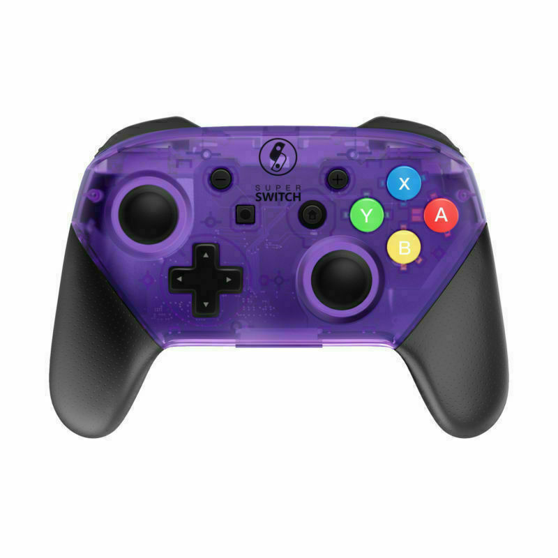 Nintendo Switch Pro Controller Black and Transparent Purple Faceplate