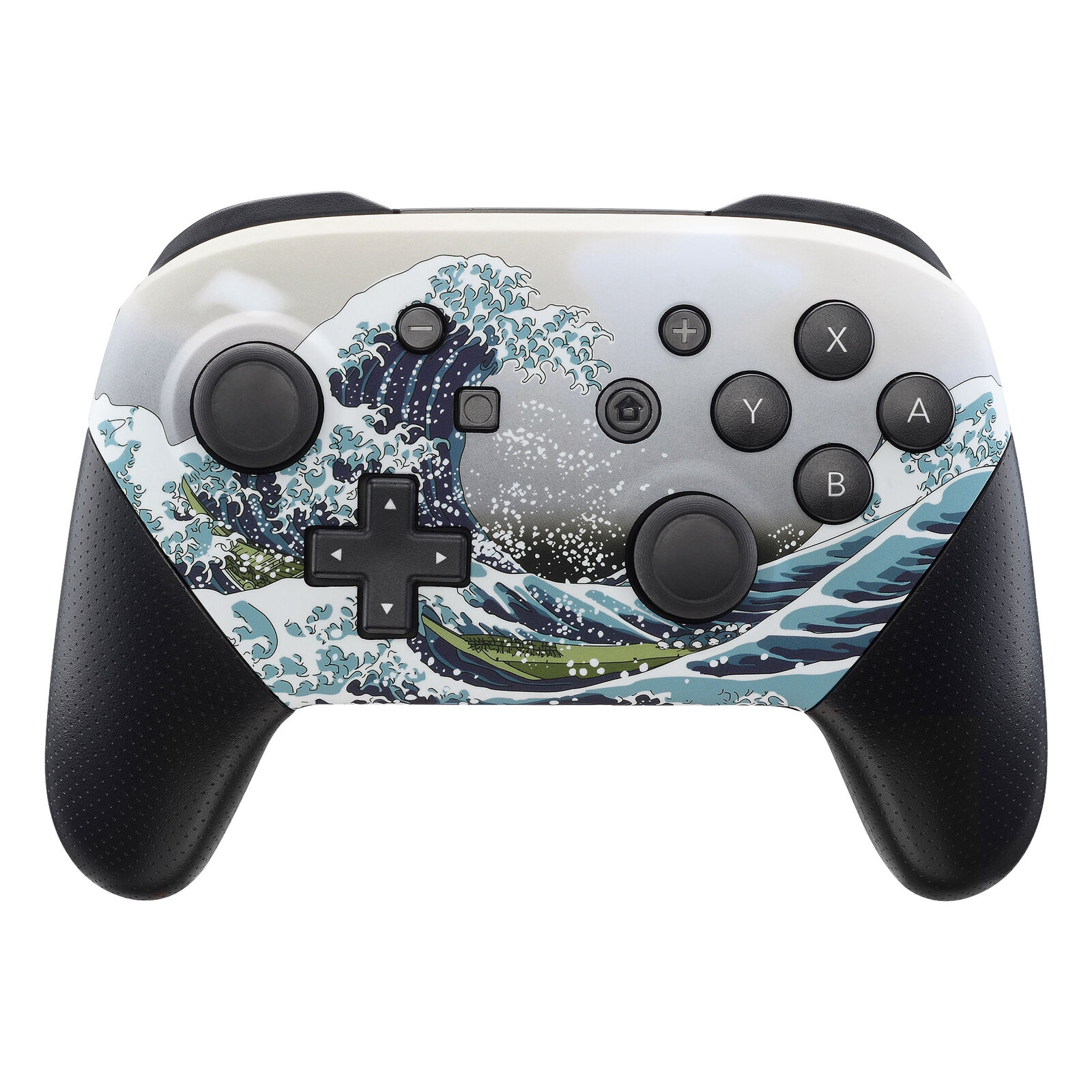 Nintendo Switch Pro Controller Black and Great Wave Faceplate