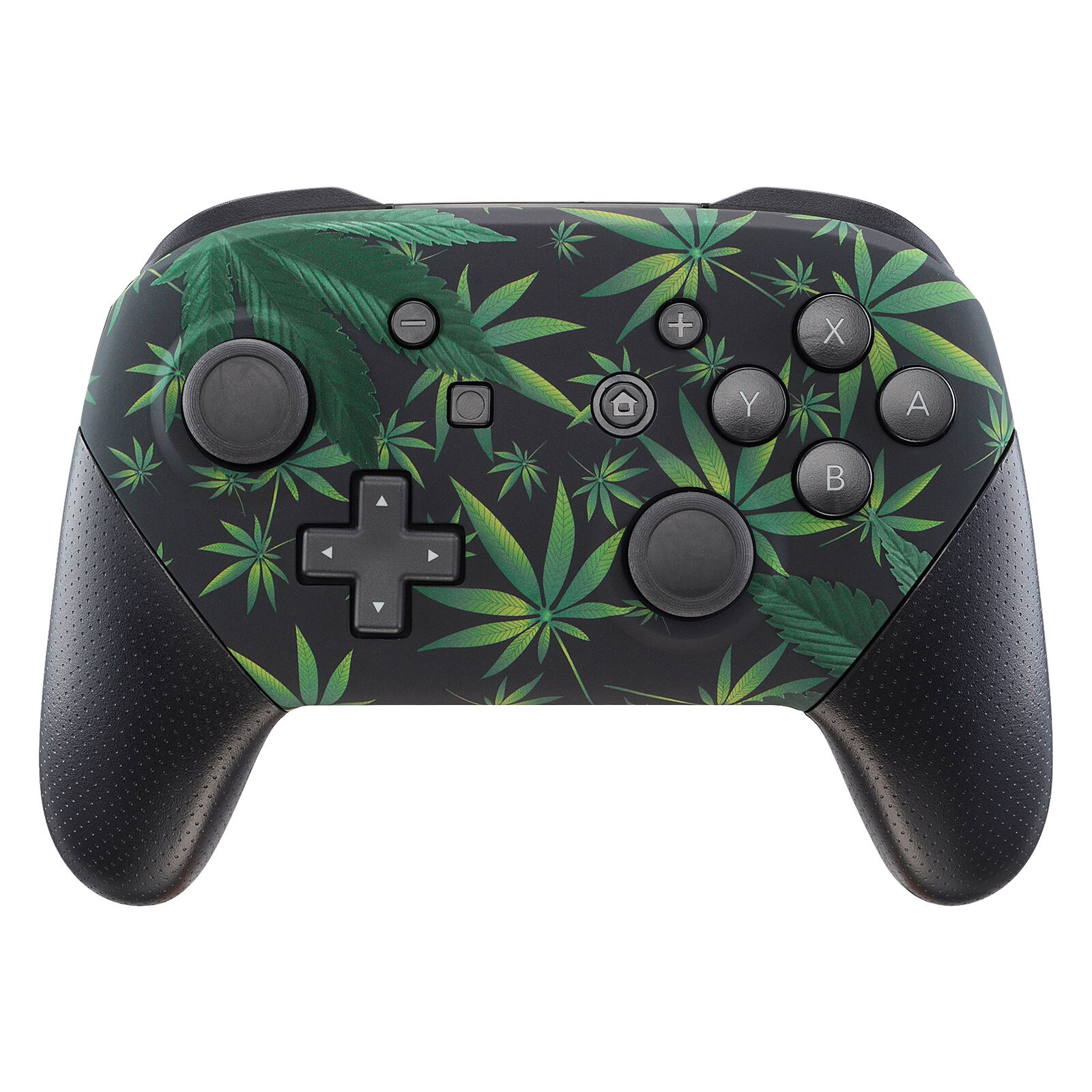 Nintendo Switch Pro Controller Black and Weed Leafs Faceplate