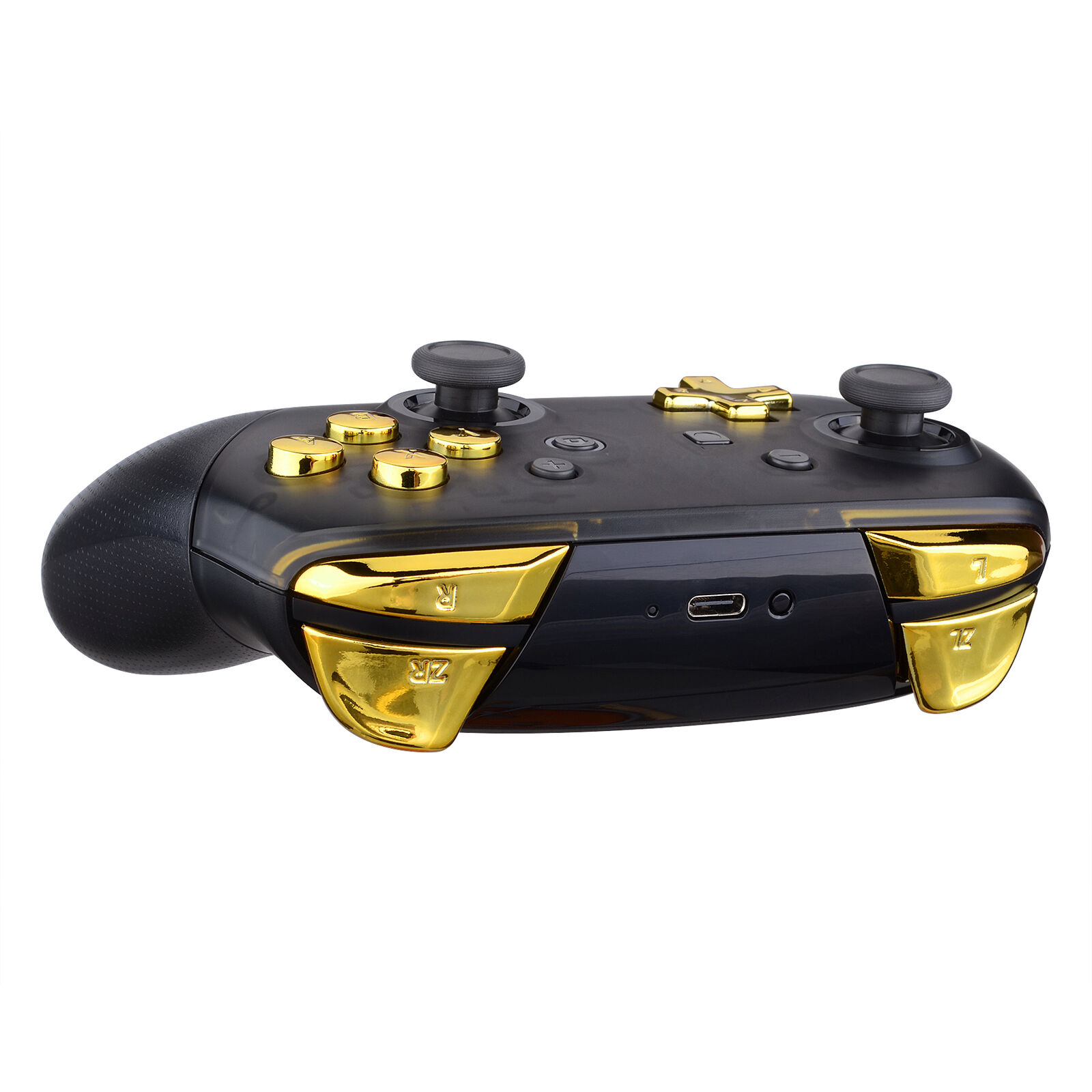 Nintendo Switch Pro Controller Black and Chrome Gold Buttons